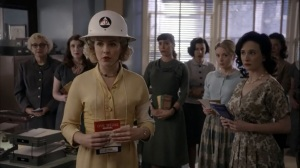 Fallout- Jane instructs hospital staff while wearing a helmet