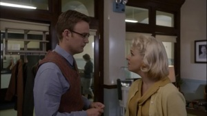 Manhigh- Lester and Jane in Bill's office about to kiss