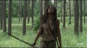 After- Michonne finishes killing a mini walker herd