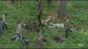 After- Michonne mows down the mini walker herd