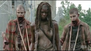 After- Michonne with two new walkers