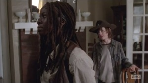 Claimed- Carl and Michonne TRY to bond