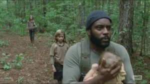 Inmates- Tyreese with Lizzie, Mika and Judith- AMC, The Walking Dead