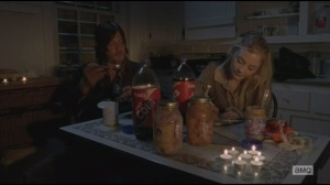 Alone- Beth writes thank you note while Daryl eats