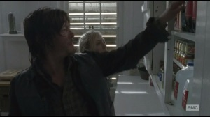 Alone- Daryl and Beth find fresh food in funeral home cupboards