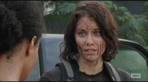 Alone- Maggie covered in blood, talking with Sasha
