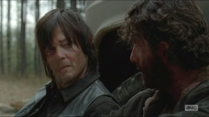A- Aftermath, Rick calls Daryl his brother