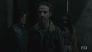 A- Daryl, Rick and Michonne meet Abraham, Eugene and Rosita