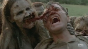 A- Man devoured by walkers