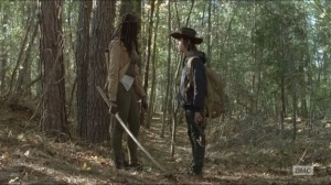A- Michonne tells Carl what happened to Mike and Terry