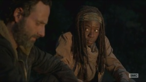 A- Rick and Michonne talk about Terminus