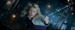 The Amazing Spider-Man 2- Gwen hanging onto webbing