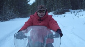 Morton's Fork- Lester on a snowmobile, two weeks later
