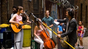 Begin Again- Recording album in an alley