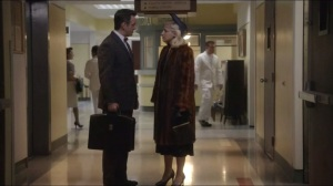 Kyrie Eleison- Bill tells Betty that he won't discuss his patients with her. Ever