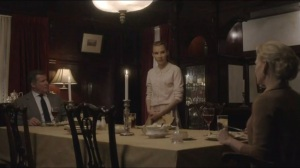 Kyrie Eleison- Dinner with the Palmateer Family- Anne, played by Melinda Page Hamilton, Rose, played by Ana Valentine Walczak, and Paul, played by Larry Poindexter