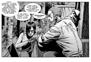 The Walking Dead #129- Carl watches silently while Rick lashes out at Benjamin