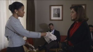 Blackbird- Virginia meets Morgan Hogue, played by Renee Elise Goldsberry, of the St. Louis Chronicle