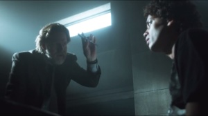 Arkham- Bullock and Gordon interrogate Nicky, played by Flaco Navaja