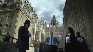 Arkham- Bullock, Gordon and Captain Essen at crime scene investigation at Arkham