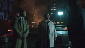 Arkham- Councilman Ron Jenkins, played by Evander Duck, and an aide are stopped by Richard Blackwell