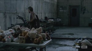 No Sanctuary- Carol finds Daryl's crossbow in room of stolen items