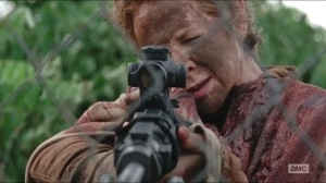 No Sanctuary- Carol prepares to fire on Terminus