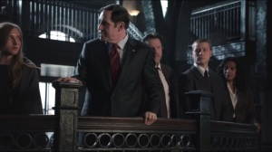 Selina Kyle- Mayor Aubrey James, played by Richard Kind, holds a press conference at the police department and thanks the officers for rescuing the children