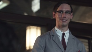 Selina Kyle- Nygma tells Captain Essen, Bullock and Gordon about high levels of ATP found in Mackey's blood