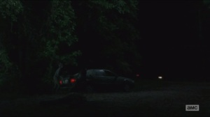 Strangers- Daryl and Carol hide as car passes by