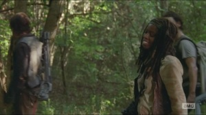 Strangers- Michonne doesn't have a sword anymore
