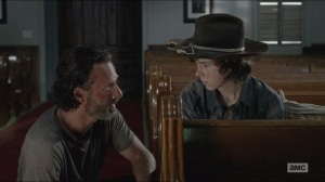 Strangers- Rick tells Carl that he doesn't trust Gabriel and asks why Carl does