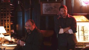 The Drop- Bob, played by Tom Hardy, and Marv, played by James Gandolfini