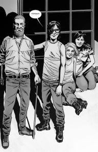 The Walking Dead #132- Rick, Maggie, Carl, Sophia and the baby watch the sun set