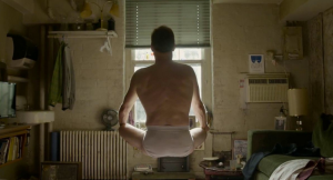 Birdman- Riggan Thompson, played by Michael Keaton, meditating