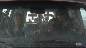 Consumed- Carol grabs Daryl's hand before they drive over a bridge