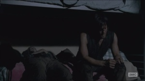 Consumed- Daryl asks Carol what she would have done if he hadn't been by the car