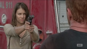 Crossed- Maggie aims her gun at Abraham