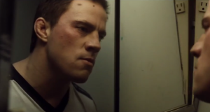 Foxcatcher- Mark looks at himself in mirror