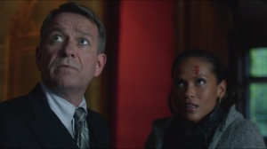 Lovecraft- Alfred greets Larissa Diaz, played by Lesley-Ann Brandt, who recognizes Selina