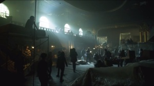 Lovecraft-Bruce and Selina enter the hideout from the first Teenage Mutant Ninja Turtles film