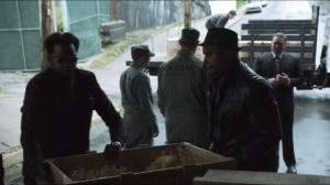 Penguin's Umbrella- Butch and Falcone's men stop Maroni's gun truck