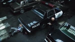 Penguin's Umbrella- Gordon hides from Zsasz in the parking garage