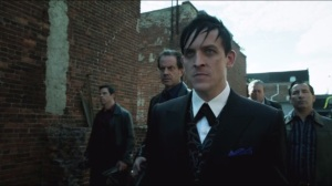 Penguin's Umbrella- Penguin leads Frankie and a squad of Maroni's men to one of Falcone's warehouses