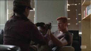 Self-Help- Rosita patches up Abraham and suggests staying at the bookstore for another day