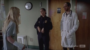 Slabtown- Beth awakens, briefed by Dr. Steven Edwards, played by Erik Jensen, and Officer Dawn Lerner, played by Christine Woods