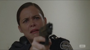 Coda- Dawn aims her gun at O'Donnell