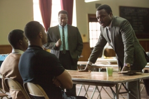 Selma- SCLC meets with SNCC members James Forman, played by Trai Byers, and John Lewis, played by Stephan James