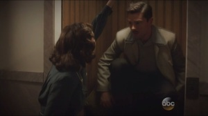 The Blitzkrieg Button- Peggy sneaks Howard up in a lift