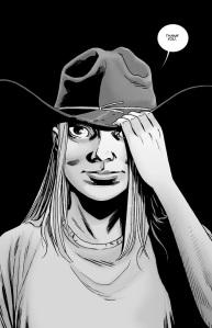 The Walking Dead #136- Lydia wears Rick's hat